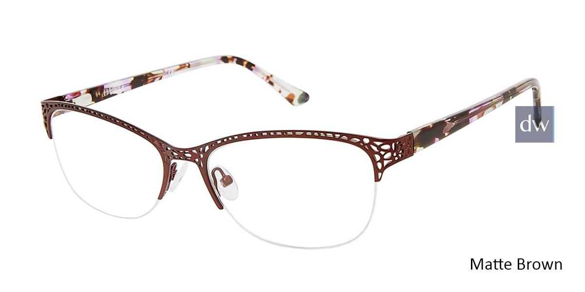 Matte Brown Nicole Miller Eckford YourFit Eyeglasses.