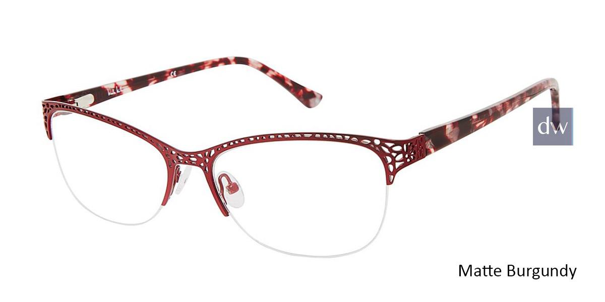 Matte Burgundy Nicole Miller Eckford YourFit Eyeglasses.