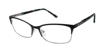 Matte Black Nicole Miller Galenta YourFit Jeweled Eyeglasses.