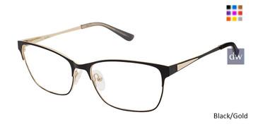 Black/Gold Nicole Miller Glenmore YourFit Eyeglasses.