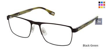 (M100) Black Green Evatik 9196 Eyeglasses.