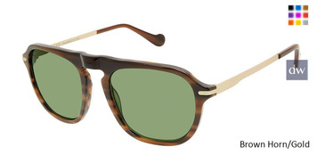 Brown Horn/Gold Canali 219 Sunglasses.