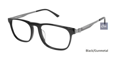 Black/Gunmetal Tlg NU025UF Tailored Fit TLG Eyeglasses.