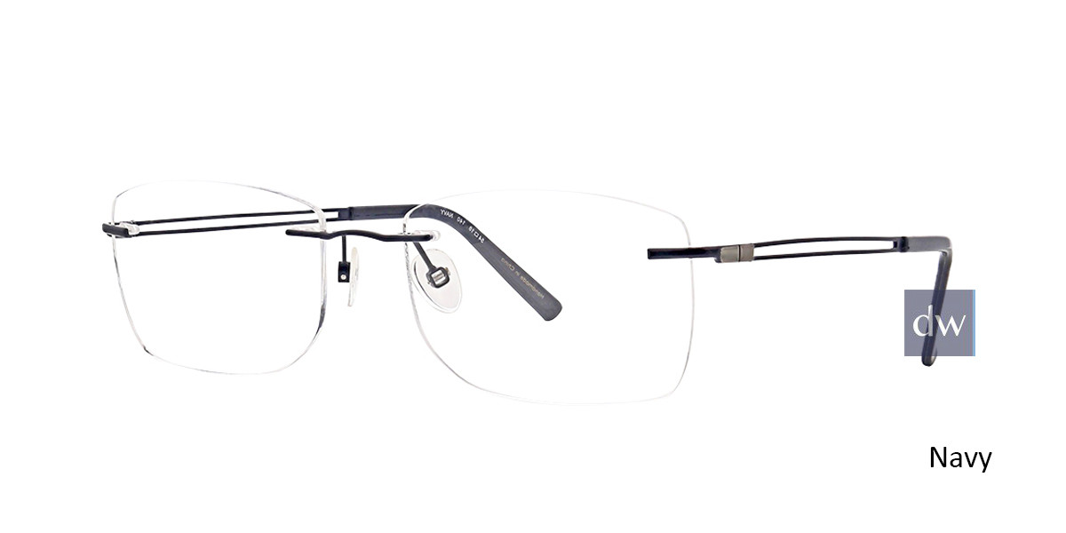 Navy Totally Rimless 275 Force Eyeglasses.