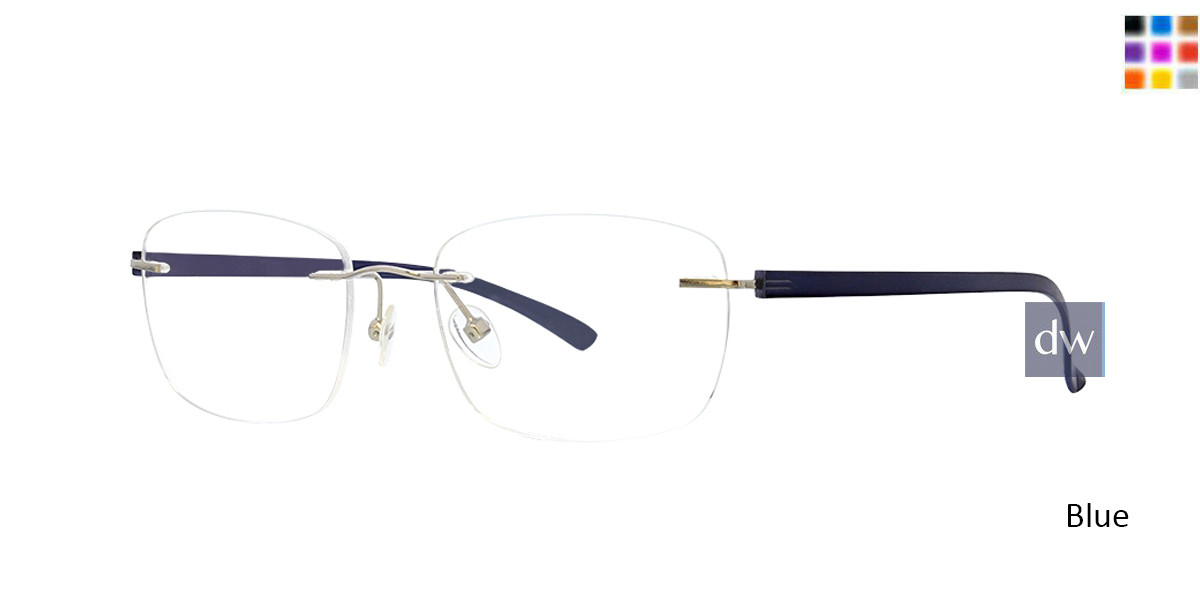 Blue Totally Rimless 297 Accelerate Eyeglasses.