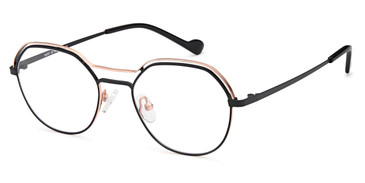 Black/Gold Capri Menizzi M4087 Eyeglasses - Teenager.