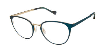 Teal/Gold Mini 742005 Eyeglasses.