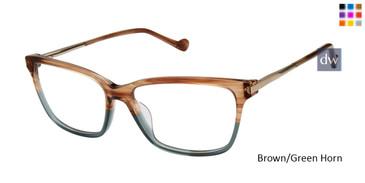 Brown/Green Horn Mini 741005 Eyeglasses.