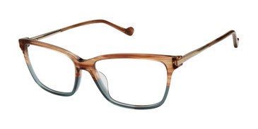 Brown/Green Horn Mini 741005 Eyeglasses.