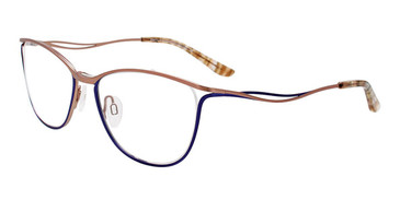 Matte Royal Blue/Matte Light Brown Easy Clip EC546 Eyeglasses - (Clip-On).