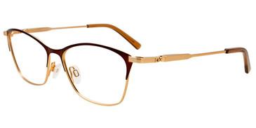 Matte Gold/Matte Dark Brown Easy Clip EC541 Eyeglasses - (Clip-On).