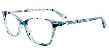 Blue/Green/Black Marbled Easy Clip EC526 Eyeglasses - (Clip-On).