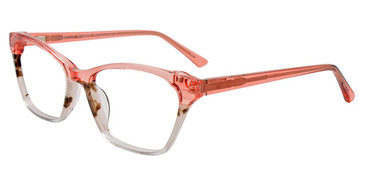 Crystal Pink/Marbled Dark Brown/White Easy Clip EC542 Eyeglasses - (Clip-On).