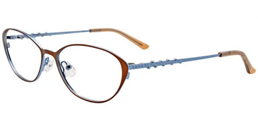 Matte Brown/Shiny Light Blue Easy Clip EC540 Eyeglasses - (Clip-On).