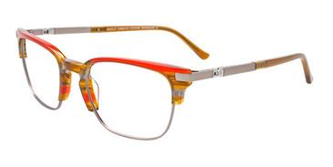 Brown/Red/Grey Marbled/Matte Steel Easy Clip EC531 Eyeglasses - (Clip-On).