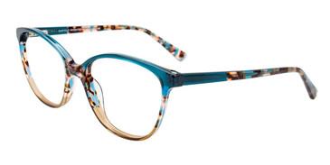 Teal Crystal/Demi Teal/Beige Crystal Easy Clip EC518 Eyeglasses - (Clip-On).