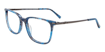 Blue/Black/Crystal Marbled Easy Clip EC520 Eyeglasses - (Clip-On).