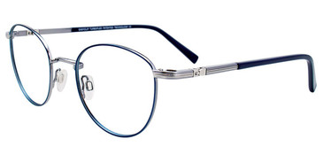 Satin Blue/Shiny Grey Easy Clip EC506 Eyeglasses - (Clip-On).
