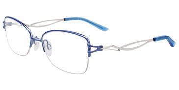 Shiny Blue Easy Clip EC508 Eyeglasses - (Clip-On).