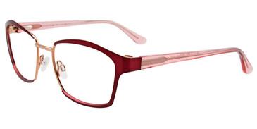 Satin Dark Red/Shiny Gold Easy Clip EC497 Eyeglasses - (Clip-On).