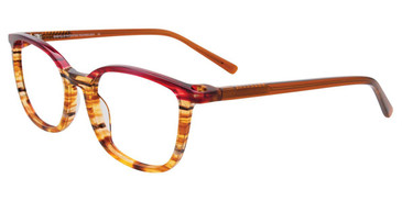 Brown Marbled/Red Easy Clip EC503 Eyeglasses - (Clip-On).