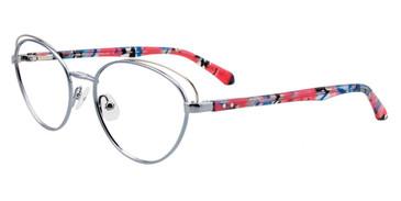 Satin Light Blue/Silver Easy Clip EC501 Eyeglasses - (Clip-On).