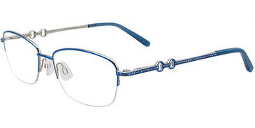Shiny Blue/Silver Easy Clip EC469 Eyeglasses - (Clip-On).