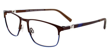 Satin Dark Brown/Shiny Blue Easy Clip EC467 Eyeglasses - (Clip-On).