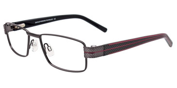 Satin Steel/Burgundy Easy Clip EC461 Eyeglasses - (Clip-On).