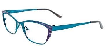 Teal/Violet Easy Clip EC458 Eyeglasses - (Clip-On).