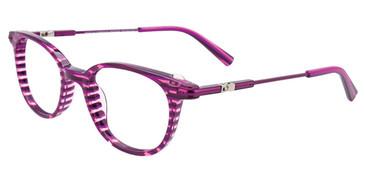Purple/Pink Crystal Lines Easy Clip EC486 Eyeglasses - (Clip-On).