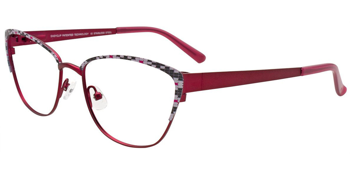 Satin Red/Black/White/Pink Easy Clip EC482 Eyeglasses - (Clip-On).
