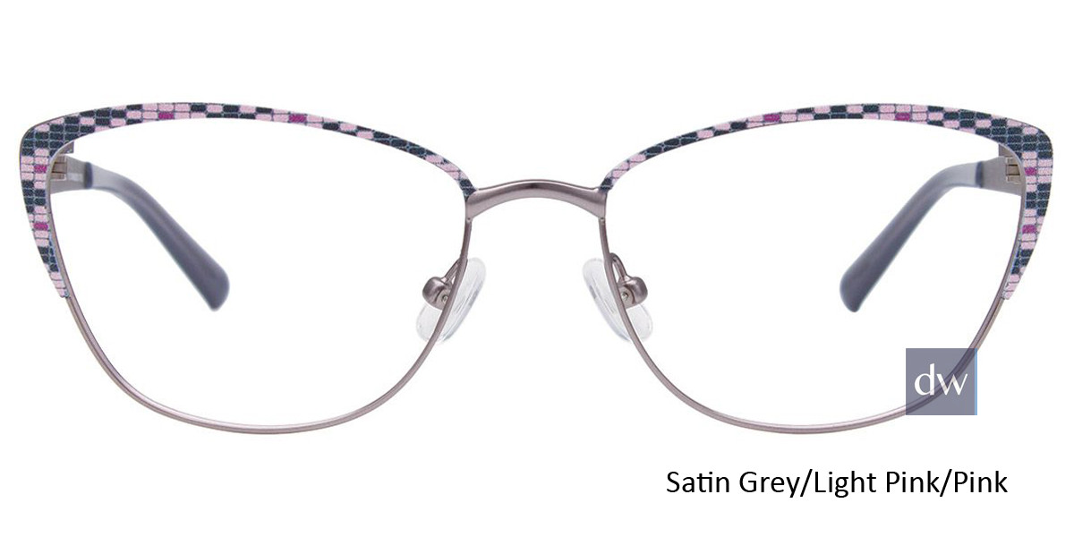 Satin Grey/Light Pink/Pink Easy Clip EC482 Eyeglasses - (Clip-On).