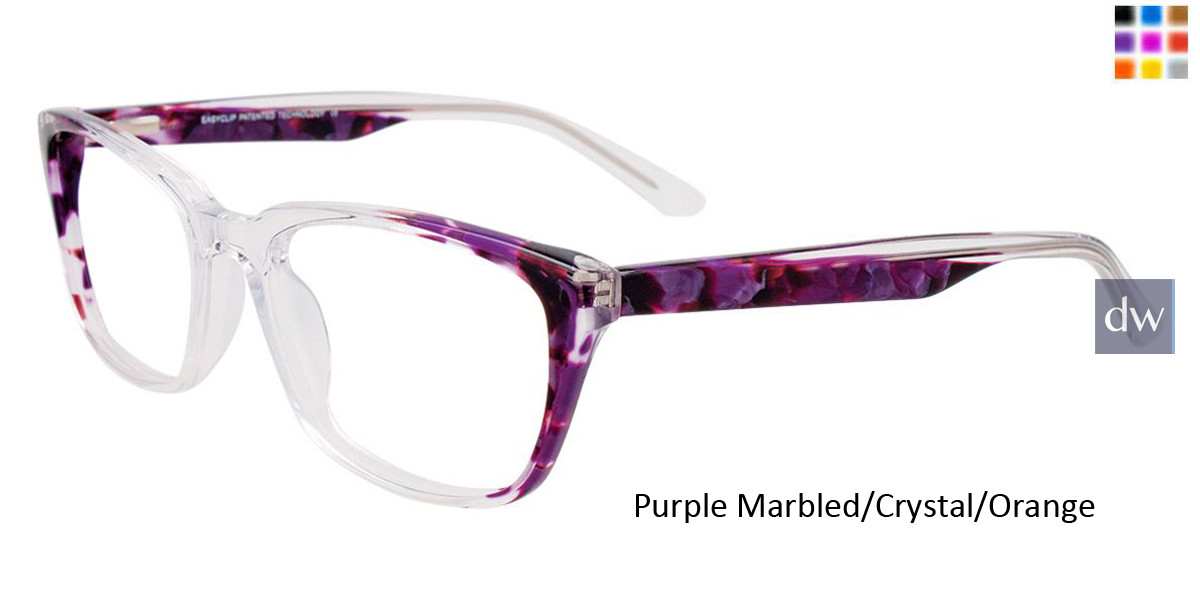 Purple Marbled/Crystal/Orange Easy Clip EC483 Eyeglasses - (Clip-On).