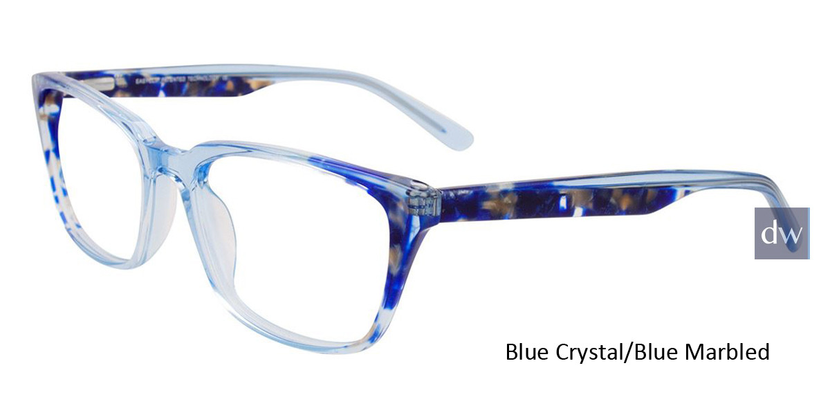 Blue Crystal/Blue Marbled Easy Clip EC483 Eyeglasses - (Clip-On).