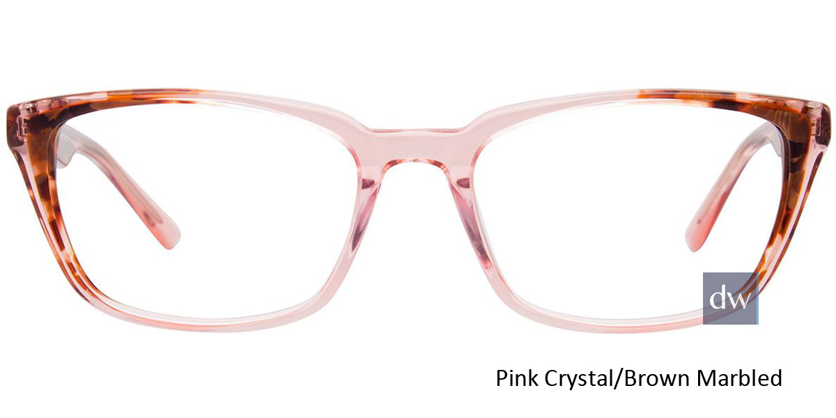 Pink Crystal/Brown Marbled Easy Clip EC483 Eyeglasses - (Clip-On).
