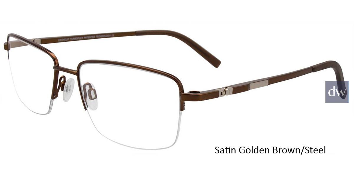 Satin Golden Brown/Steel Easy Clip EC465 Eyeglasses - (Clip-On).