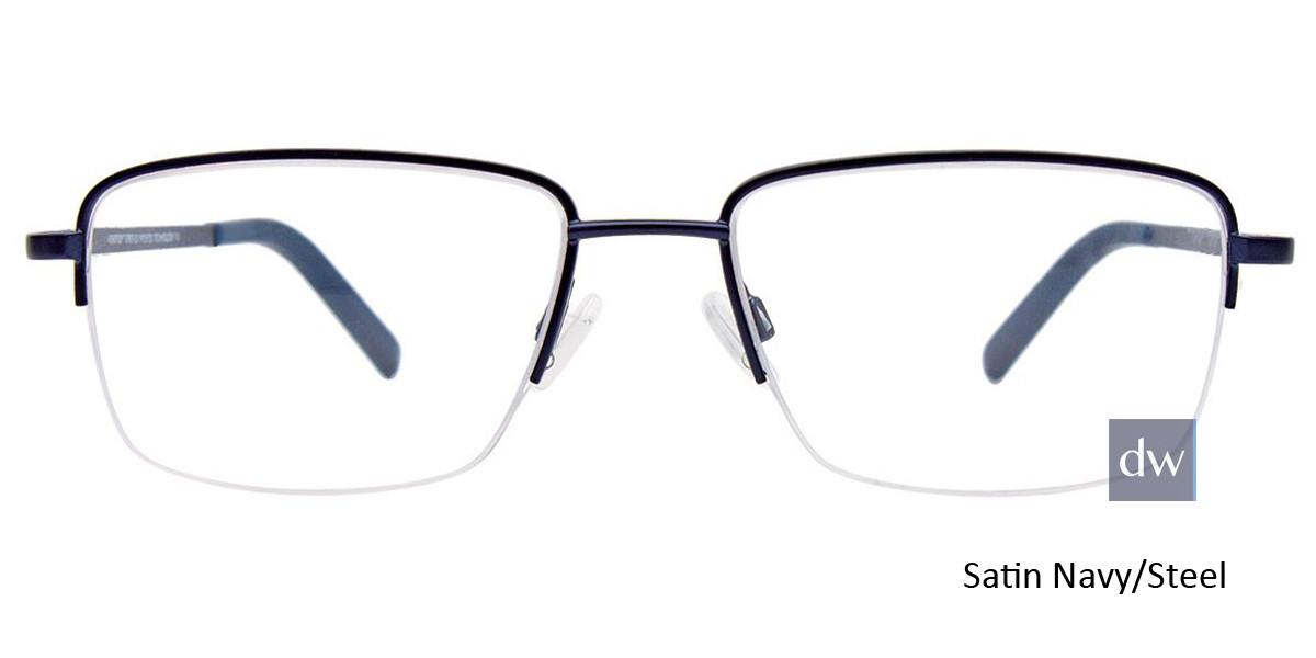 Satin Navy/Steel Easy Clip EC465 Eyeglasses - (Clip-On).