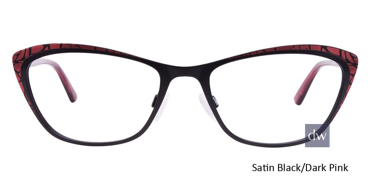 Satin Black/Dark Pink Easy Clip EC456 Eyeglasses - (Clip-On).