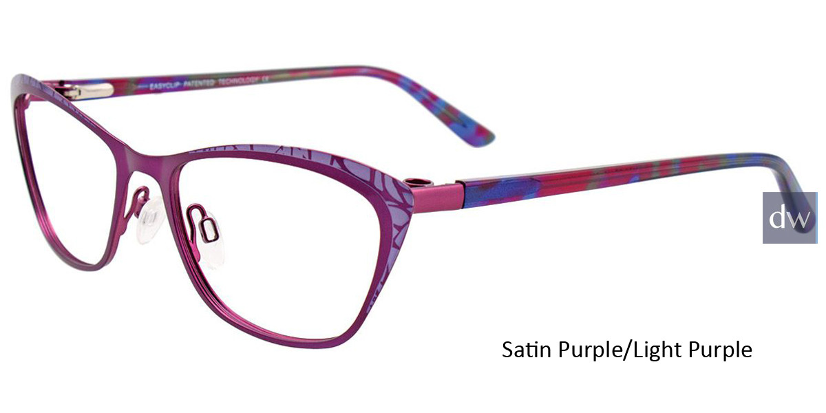 Satin Purple/Light Purple Easy Clip EC456 Eyeglasses - (Clip-On).
