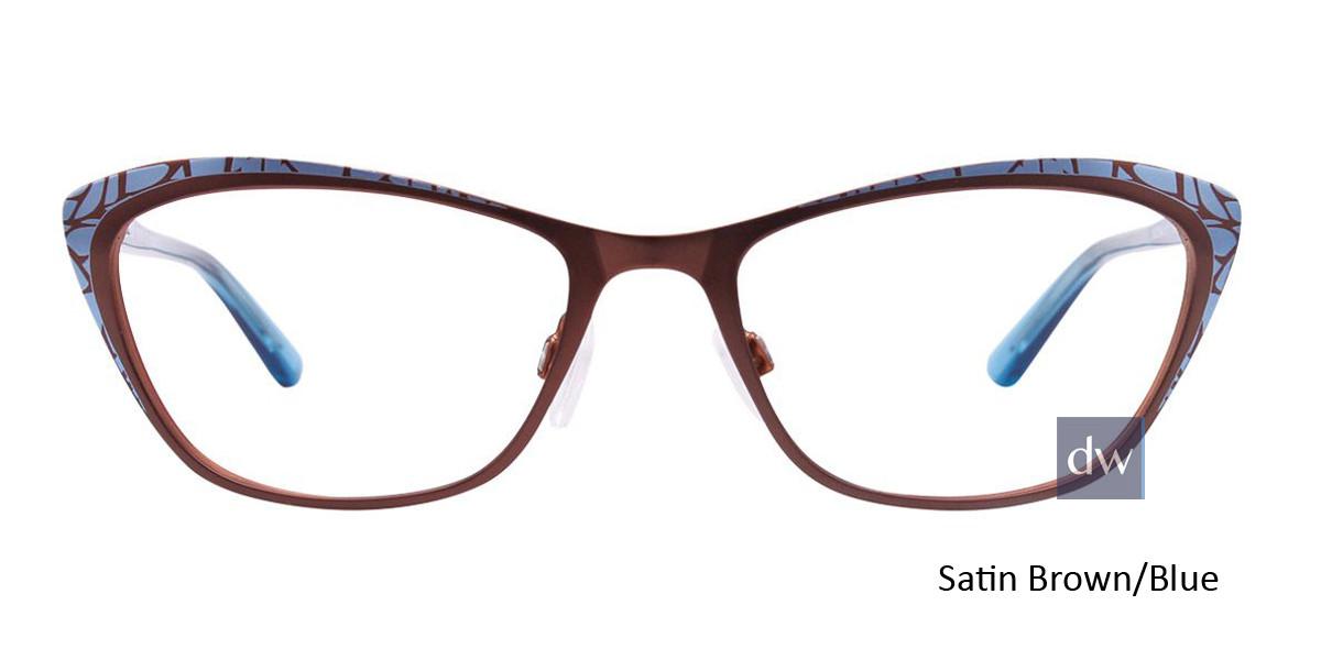 Satin Brown/Blue Easy Clip EC456 Eyeglasses - (Clip-On).