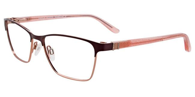 Satin Dark Brown/Light Pink Easy Clip EC455 Eyeglasses - (Clip-On).