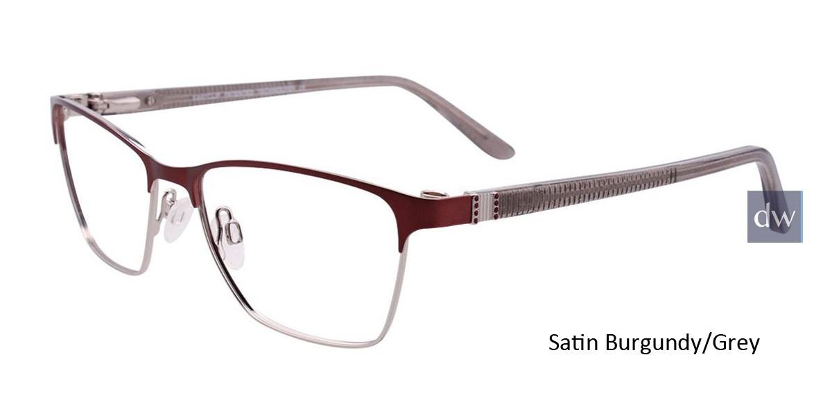 Satin Burgundy/Grey Easy Clip EC455 Eyeglasses - (Clip-On).