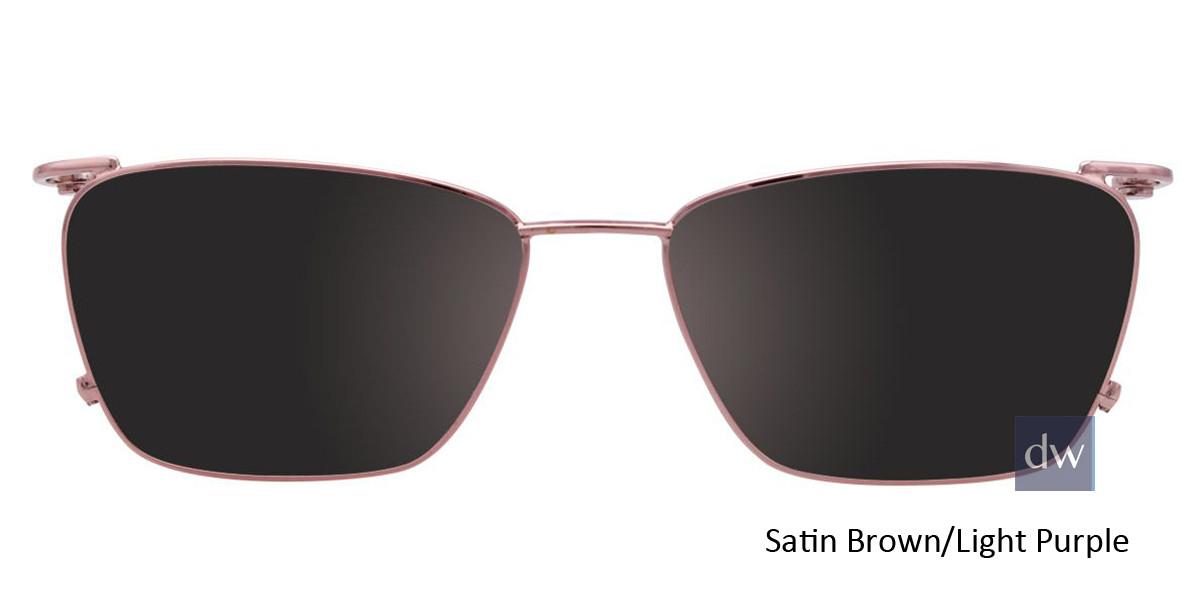 Satin Brown/Light Purple Easy Clip EC455 Eyeglasses - (Clip-On).
