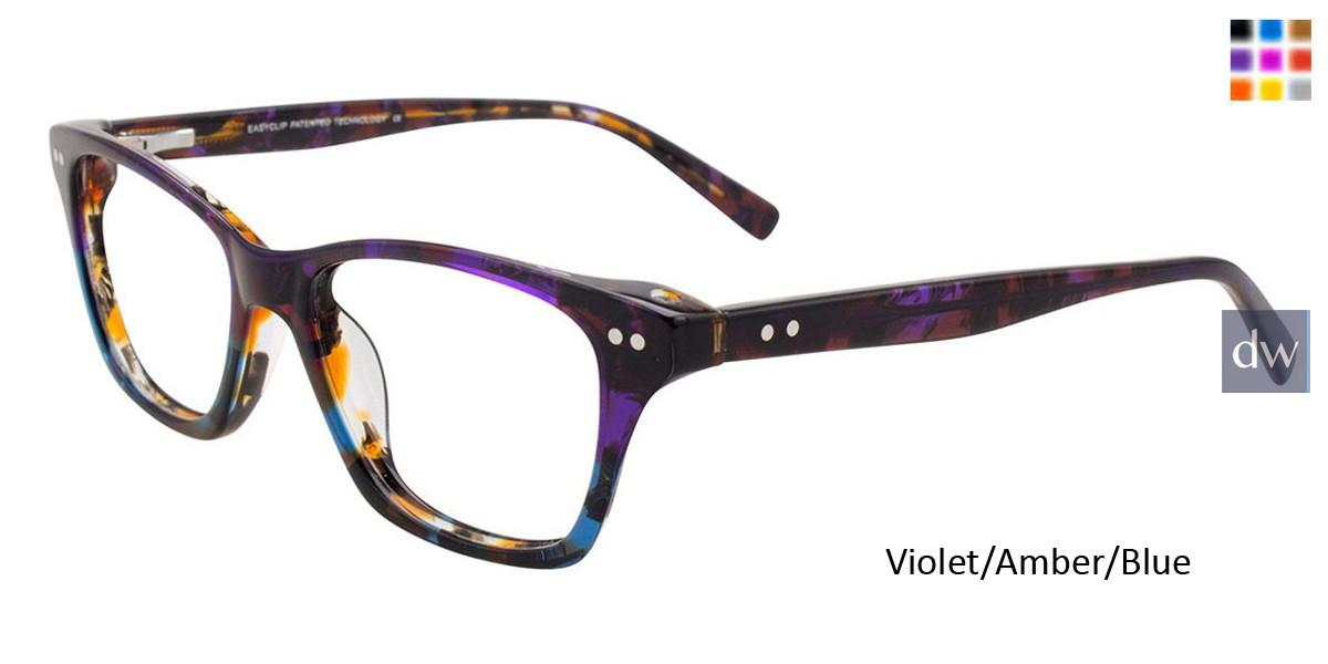 Violet/Amber/Blue Easy Clip EC453 Eyeglasses - Teenager - (Clip-On).