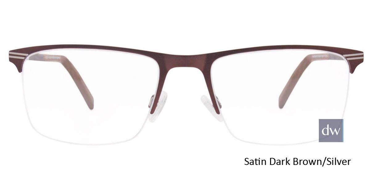 Satin Dark Brown/Silver Easy Clip EC457 Eyeglasses - (Clip-On).