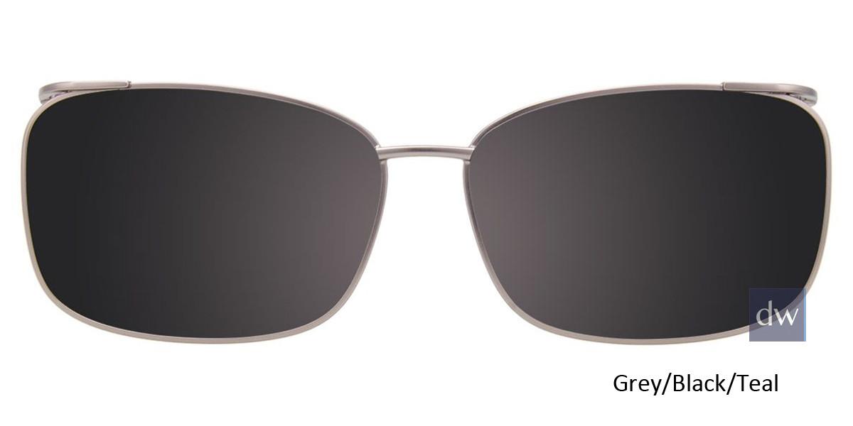 Grey/Black/Teal Easy Clip EC449 Eyeglasses - (Clip-On).