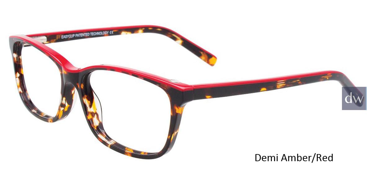 Demi Amber/Red Easy Clip EC449 Eyeglasses - (Clip-On).