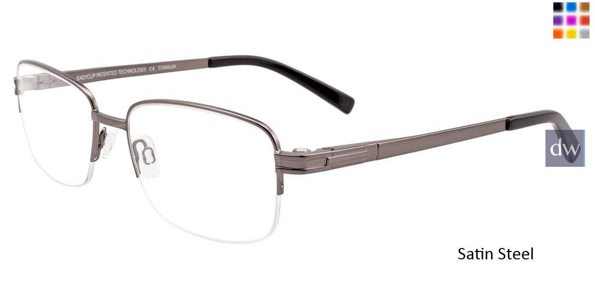 Satin Steel Easy Clip SF123 Eyeglasses - (Clip-On).