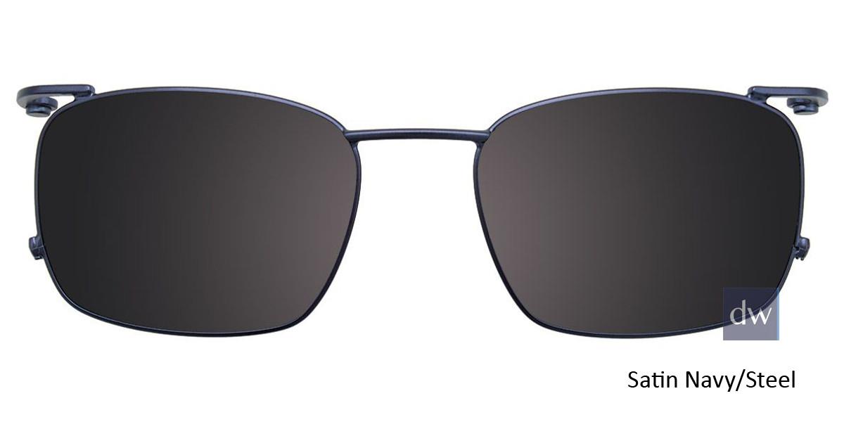 Satin Navy/Steel Easy Clip EC452 Eyeglasses - (Clip-On).
